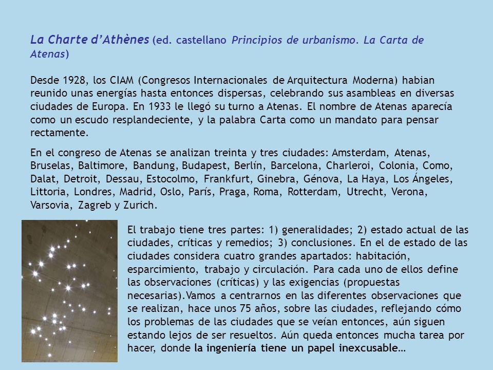 La Charte dAthènes (ed. castellano Principios de urbanismo. La Carta de Atenas) Desde 1928, los CIAM (Congresos Internacionales de Arquitectura Modern