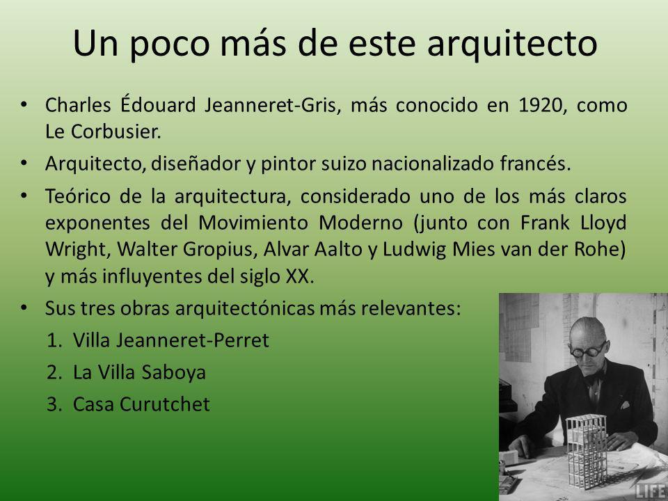 Un poco más de este arquitecto Charles Édouard Jeanneret-Gris, más conocido en 1920, como Le Corbusier. Arquitecto, diseñador y pintor suizo nacionali