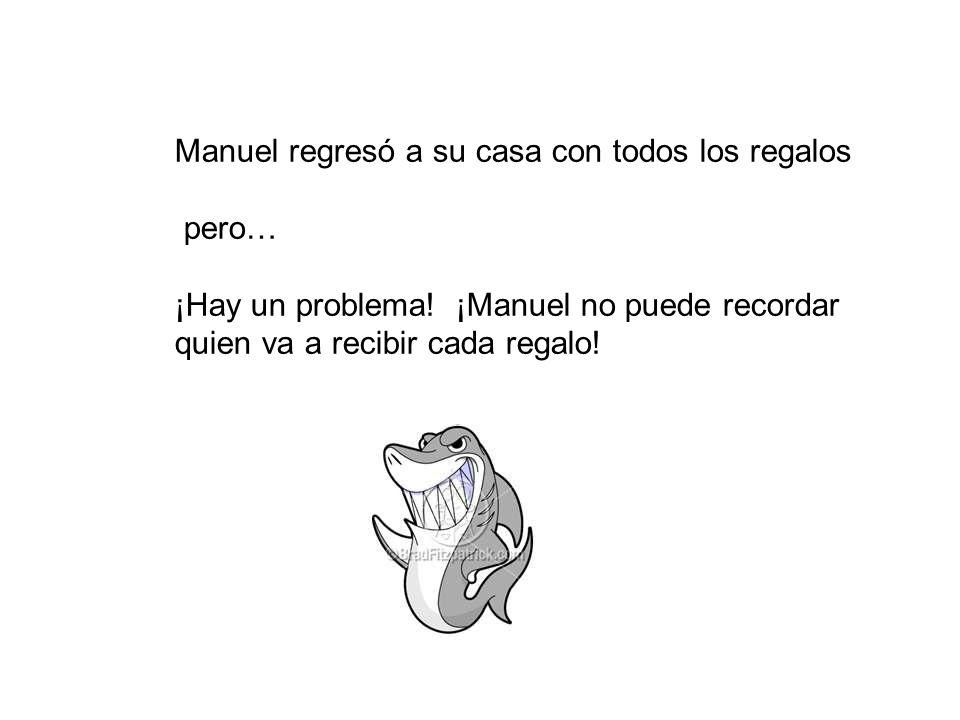 Manuel regresó a su casa con todos los regalos pero… ¡Hay un problema! ¡Manuel no puede recordar quien va a recibir cada regalo!