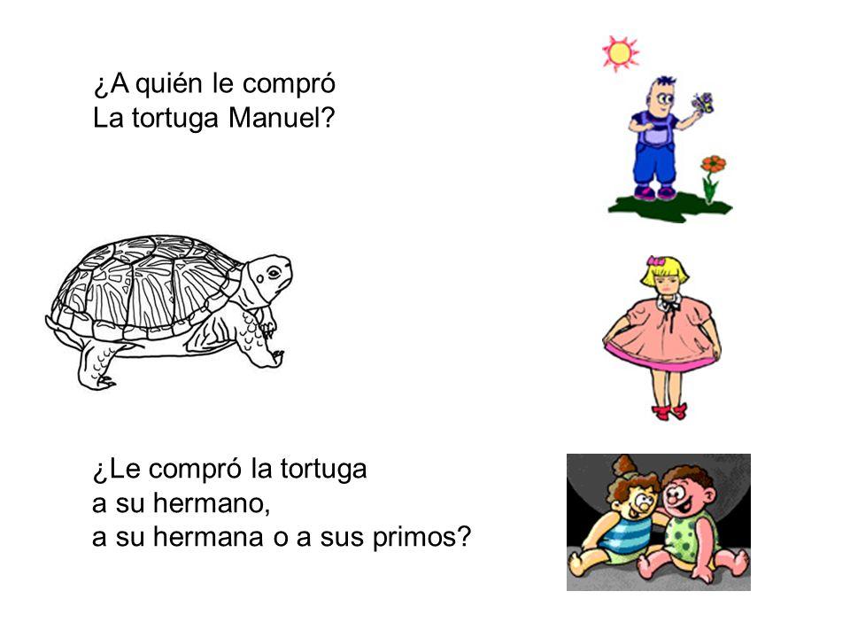 ¿A quién le compró La tortuga Manuel? ¿Le compró la tortuga a su hermano, a su hermana o a sus primos?