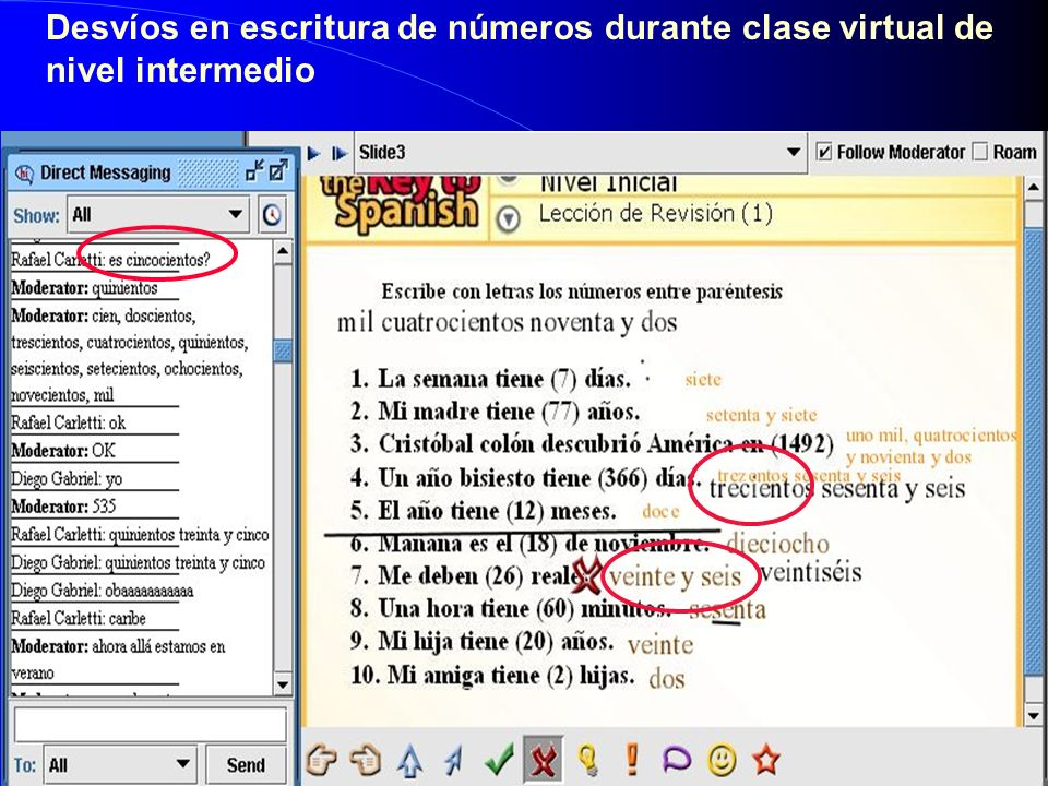 Desvíos en escritura de números durante clase virtual de nivel intermedio