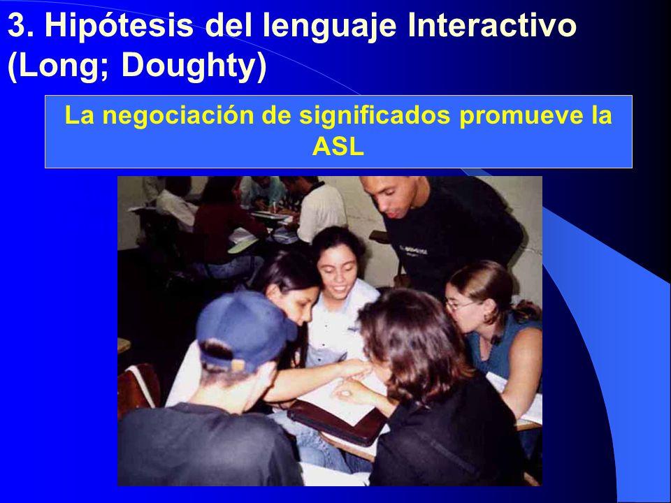 3. Hipótesis del lenguaje Interactivo (Long; Doughty) Adquisición Aprendizaje La negociación de significados promueve la ASL