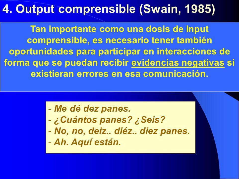 4. Output comprensible (Swain, 1985) Adquisición Aprendizaje Tan importante como una dosis de Input comprensible, es necesario tener también oportunid