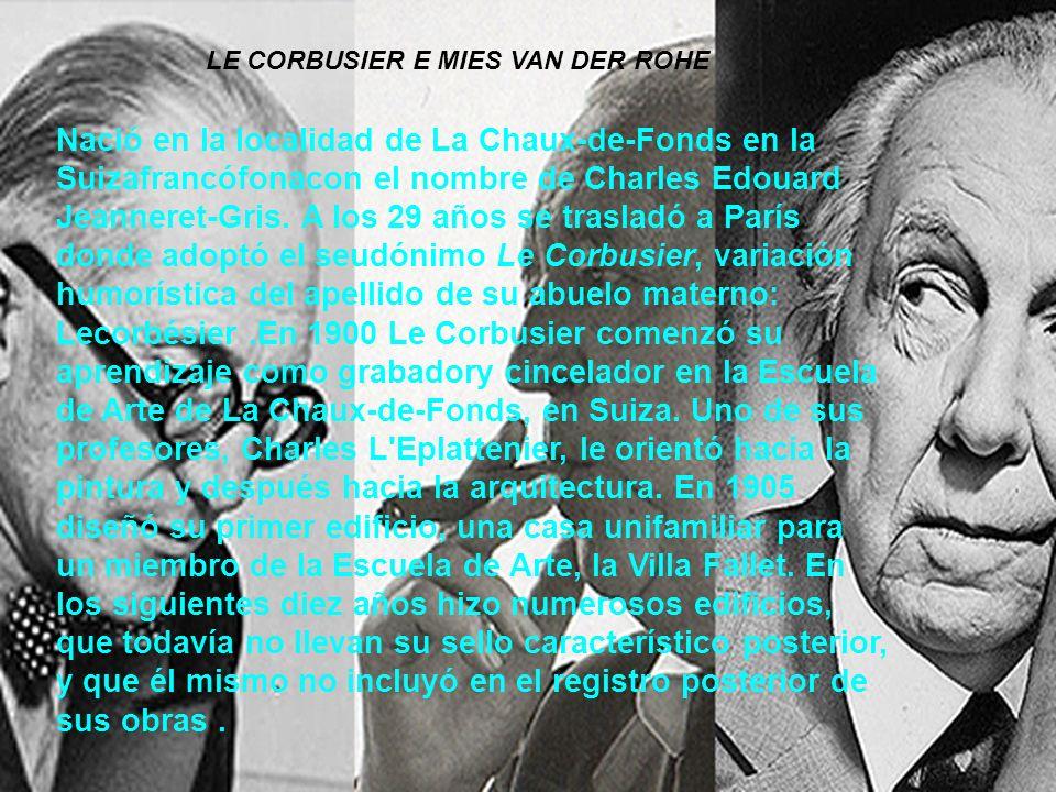 Nació en la localidad de La Chaux-de-Fonds en la Suizafrancófonacon el nombre de Charles Edouard Jeanneret-Gris. A los 29 años se trasladó a París don