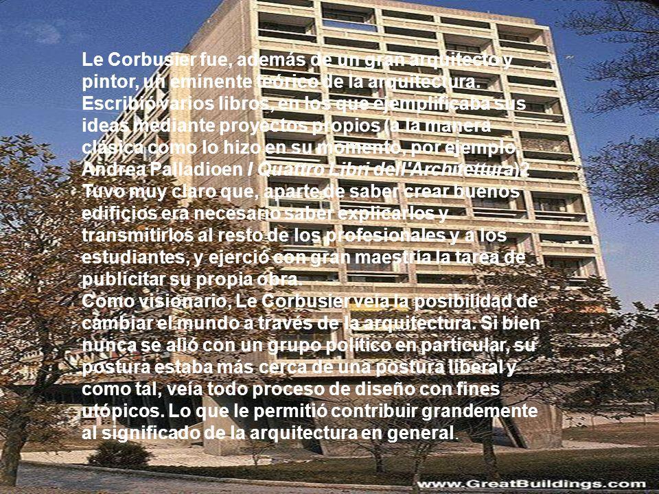 Le Corbusier fue, además de un gran arquitecto y pintor, un eminente teórico de la arquitectura. Escribió varios libros, en los que ejemplificaba sus