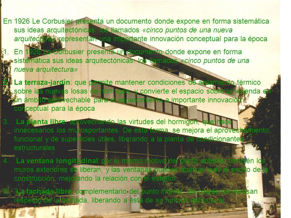 En 1926 Le Corbusier presenta un documento donde expone en forma sistemática sus ideas arquitectónicas: los llamados «cinco puntos de una nueva arquit