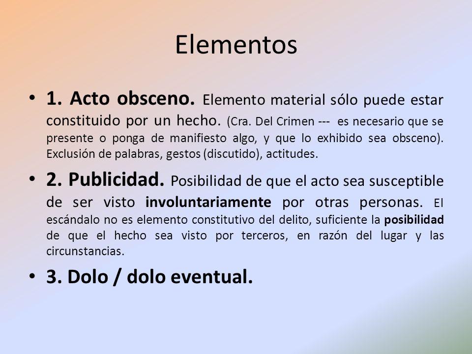 Elementos 1. Acto obsceno. Elemento material sólo puede estar constituido por un hecho. (Cra. Del Crimen --- es necesario que se presente o ponga de m