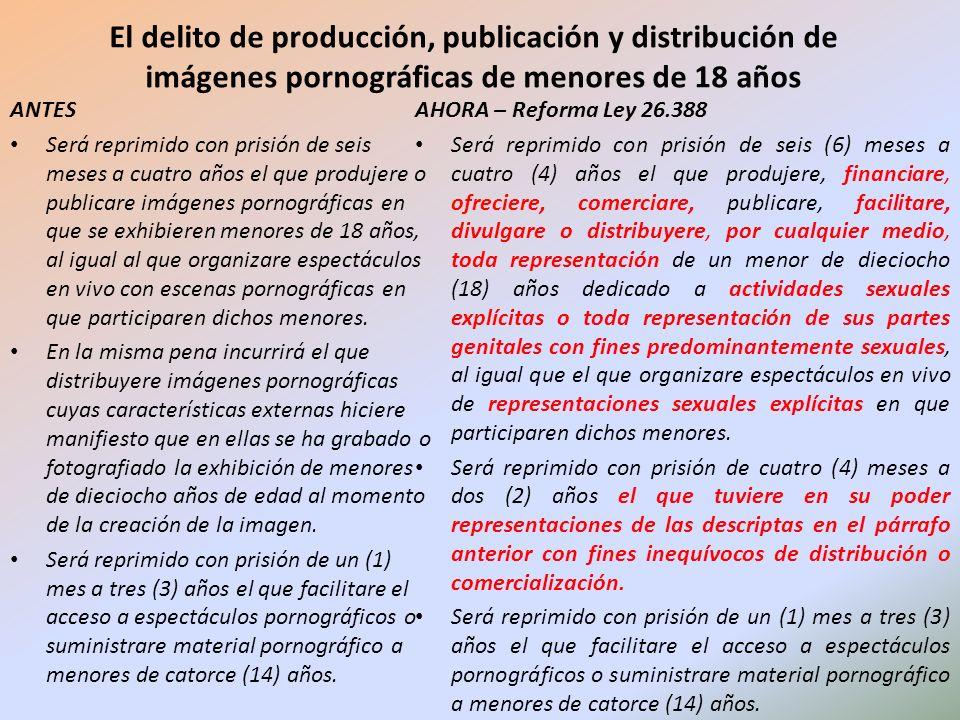 El delito de producción, publicación y distribución de imágenes pornográficas de menores de 18 años AHORA – Reforma Ley 26.388 Será reprimido con pris