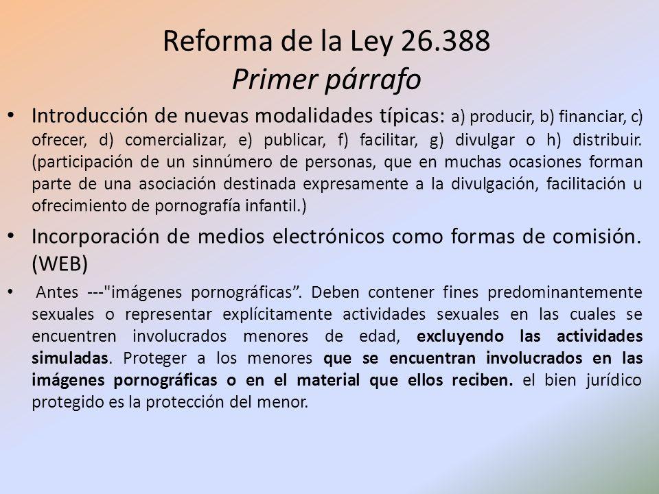Reforma de la Ley 26.388 Primer párrafo Introducción de nuevas modalidades típicas: a) producir, b) financiar, c) ofrecer, d) comercializar, e) public