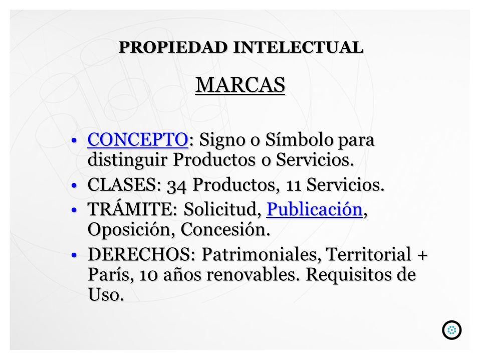 MARCAS CONCEPTO: Signo o Símbolo para distinguir Productos o Servicios.CONCEPTO: Signo o Símbolo para distinguir Productos o Servicios.CONCEPTO CLASES