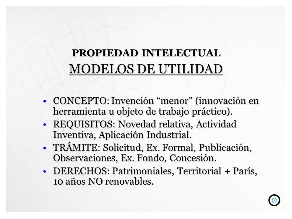 MODELOS DE UTILIDAD CONCEPTO: Invención menor (innovación en herramienta u objeto de trabajo práctico).CONCEPTO: Invención menor (innovación en herram