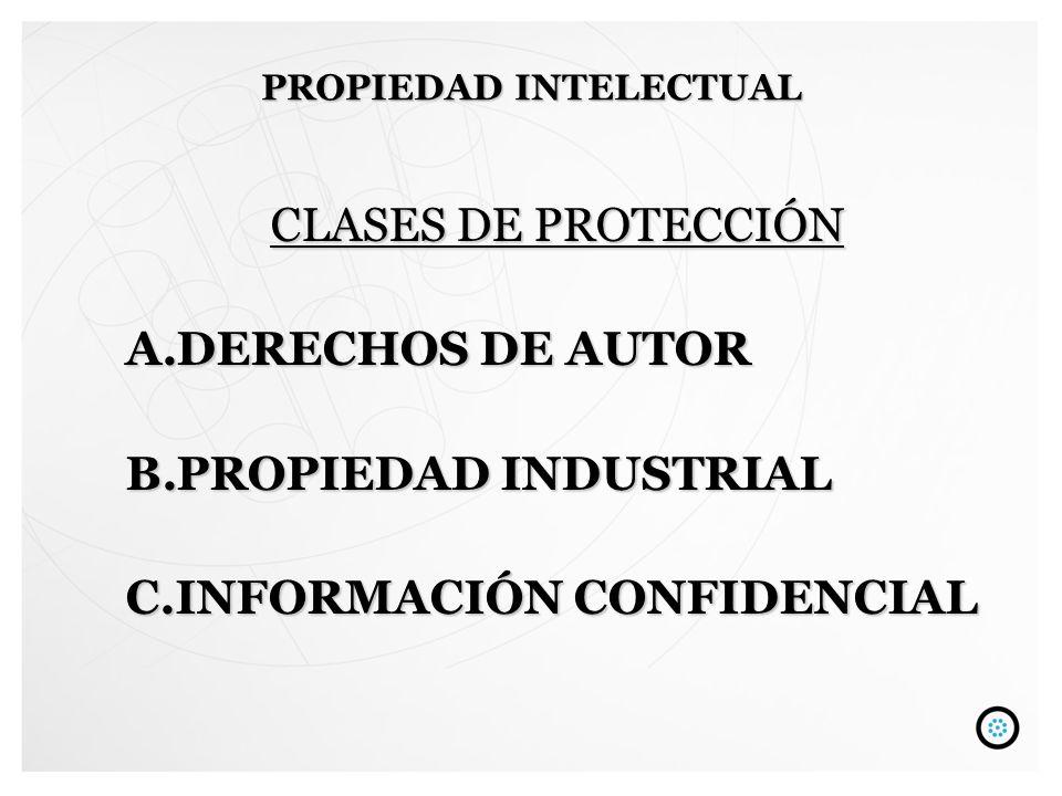 CLASES DE PROTECCIÓN A.DERECHOS DE AUTOR B.PROPIEDAD INDUSTRIAL C.INFORMACIÓN CONFIDENCIAL PROPIEDAD INTELECTUAL