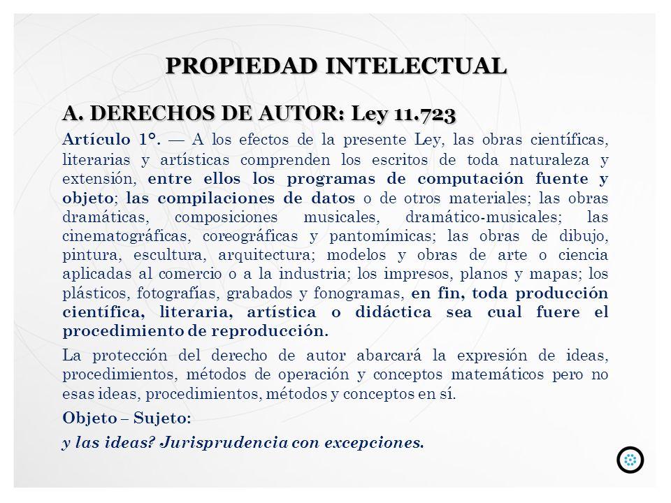 A.DERECHOS DE AUTOR: Ley 11.723 Artículo 1°. A los efectos de la presente Ley, las obras científicas, literarias y artísticas comprenden los escritos