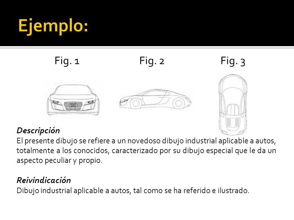Fig. 1 Fig. 2 Fig. 3 Descripción El presente dibujo se refiere a un novedoso dibujo industrial aplicable a autos, totalmente a los conocidos, caracter