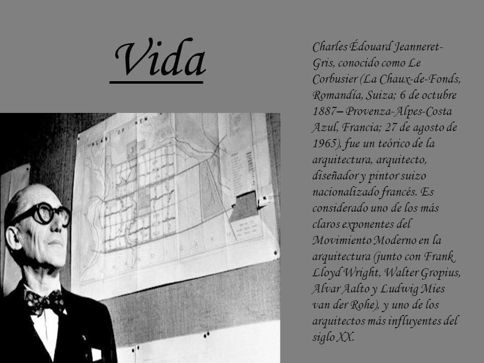Charles Édouard Jeanneret- Gris, conocido como Le Corbusier (La Chaux-de-Fonds, Romandía, Suiza; 6 de octubre 1887– Provenza-Alpes-Costa Azul, Francia