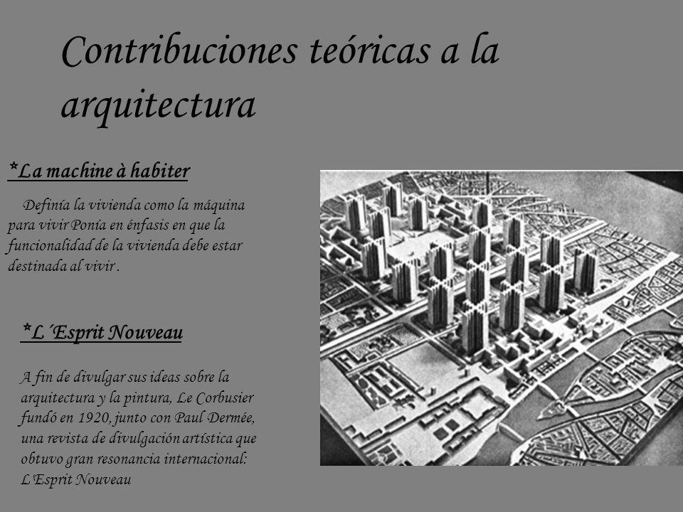 Contribuciones teóricas a la arquitectura *La machine à habiter Definía la vivienda como la máquina para vivir Ponía en énfasis en que la funcionalida