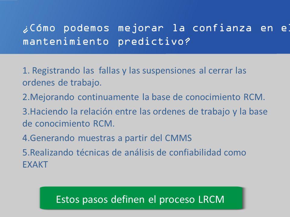 ¿Cómo podemos mejorar la confianza en el mantenimiento predictivo? 1. Registrando las fallas y las suspensiones al cerrar las ordenes de trabajo. 2.Me
