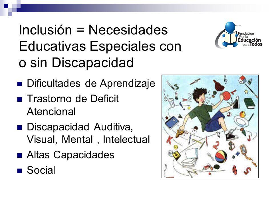 Inclusión = Necesidades Educativas Especiales con o sin Discapacidad Dificultades de Aprendizaje Trastorno de Deficit Atencional Discapacidad Auditiva, Visual, Mental, Intelectual Altas Capacidades Social