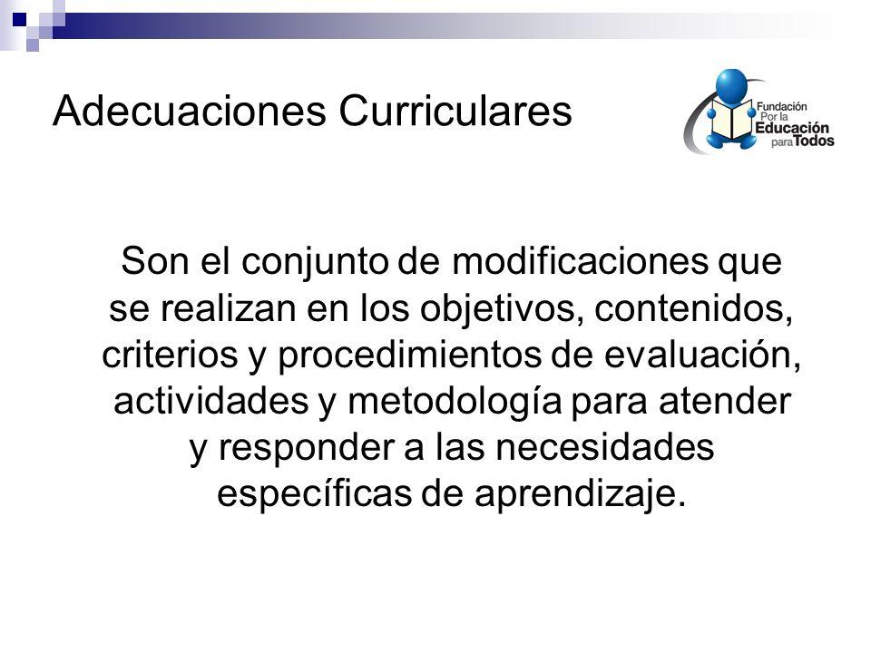 Adecuaciones Curriculares Son el conjunto de modificaciones que se realizan en los objetivos, contenidos, criterios y procedimientos de evaluación, actividades y metodología para atender y responder a las necesidades específicas de aprendizaje.