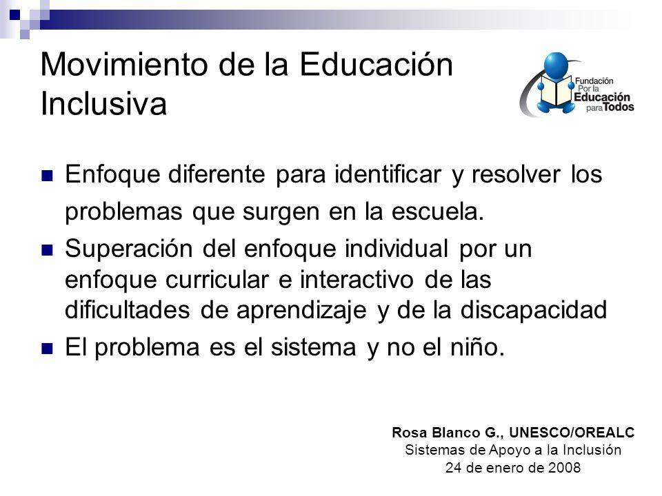 Movimiento de la Educación Inclusiva Enfoque diferente para identificar y resolver los problemas que surgen en la escuela.
