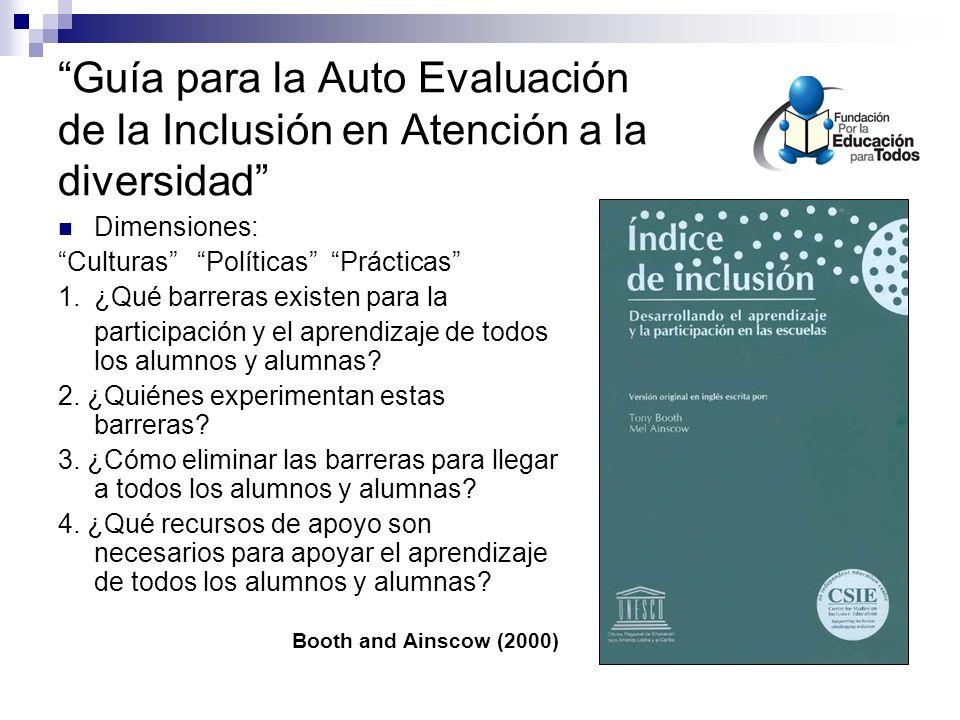 Guía para la Auto Evaluación de la Inclusión en Atención a la diversidad Dimensiones: Culturas Políticas Prácticas 1.¿Qué barreras existen para la participación y el aprendizaje de todos los alumnos y alumnas.