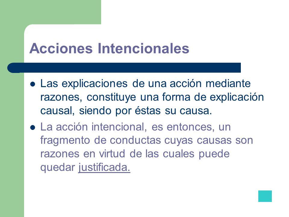 Acciones Intencionales Las explicaciones de una acción mediante razones, constituye una forma de explicación causal, siendo por éstas su causa. La acc
