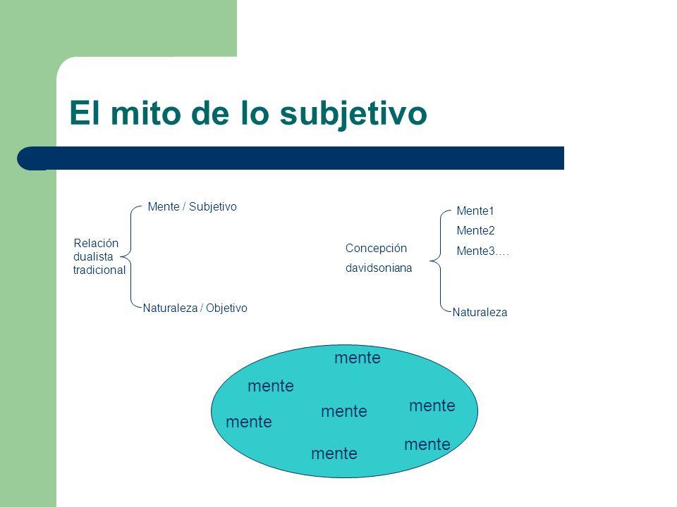 El mito de lo subjetivo Relación dualista tradicional Mente / Subjetivo Naturaleza / Objetivo Mente1 Mente2 Mente3…. Naturaleza Concepción davidsonian