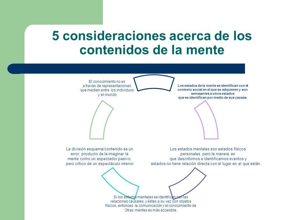 5 consideraciones acerca de los contenidos de la mente El conocimiento no es a través de representaciones que medien entre los individuos y el mundo L