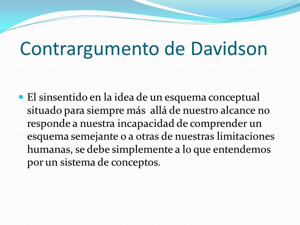 Contrargumento de Davidson El sinsentido en la idea de un esquema conceptual situado para siempre más allá de nuestro alcance no responde a nuestra in