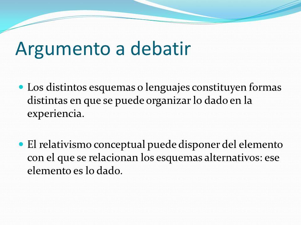 Argumento a debatir Los distintos esquemas o lenguajes constituyen formas distintas en que se puede organizar lo dado en la experiencia. El relativism