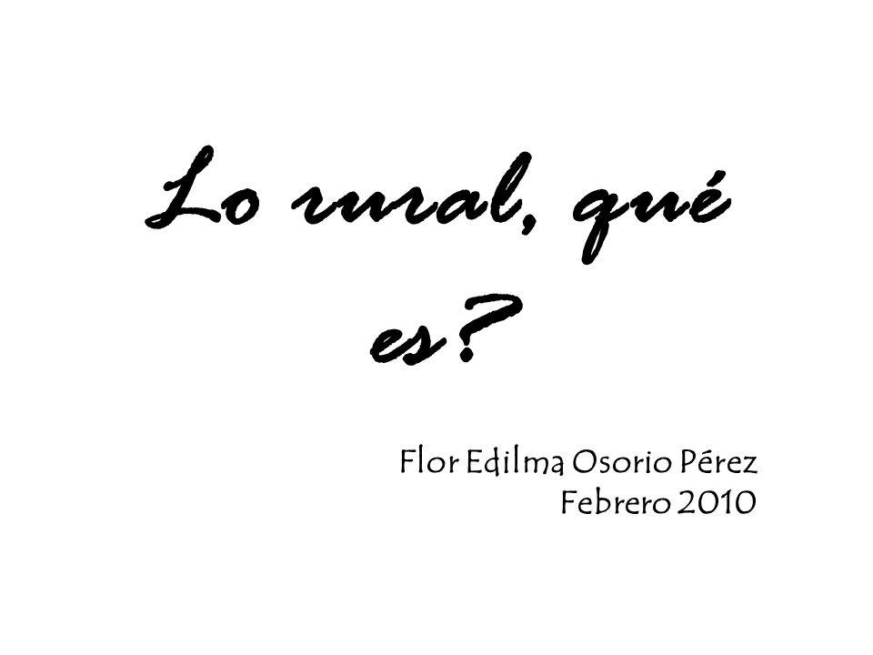 Lo rural, qué es? Flor Edilma Osorio Pérez Febrero 2010