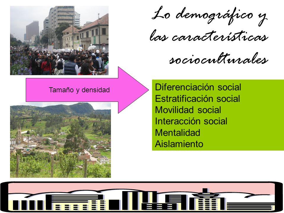 Lo demográfico y las características socioculturales Diferenciación social Estratificación social Movilidad social Interacción social Mentalidad Aislamiento Tamaño y densidad