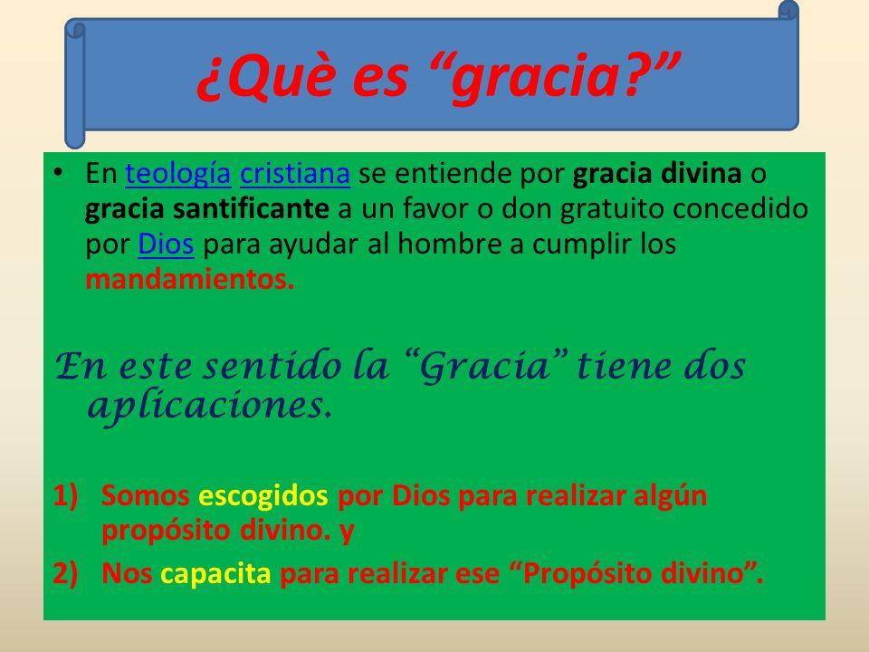 En teología cristiana se entiende por gracia divina o gracia santificante a un favor o don gratuito concedido por Dios para ayudar al hombre a cumplir