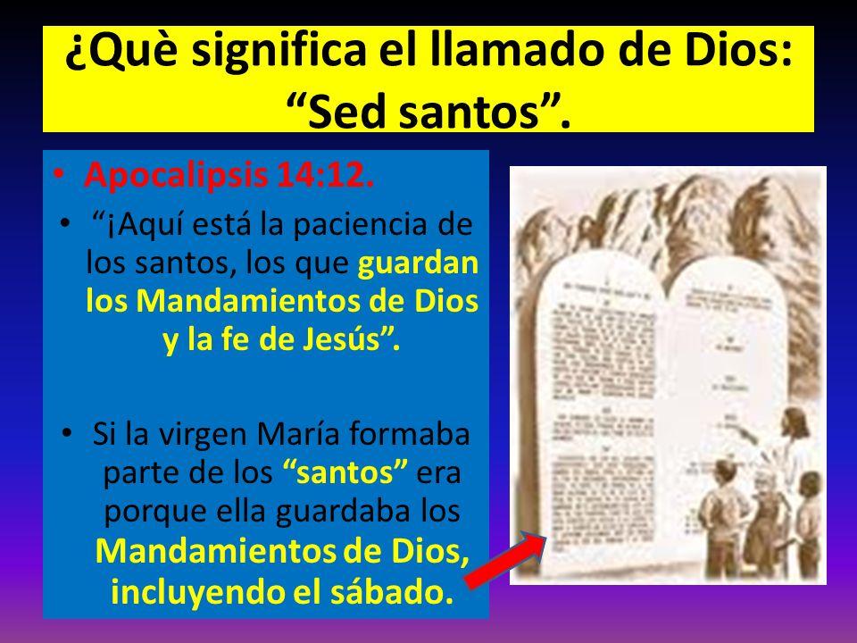 ¿Què significa el llamado de Dios: Sed santos. Apocalipsis 14:12. ¡Aquí está la paciencia de los santos, los que guardan los Mandamientos de Dios y la