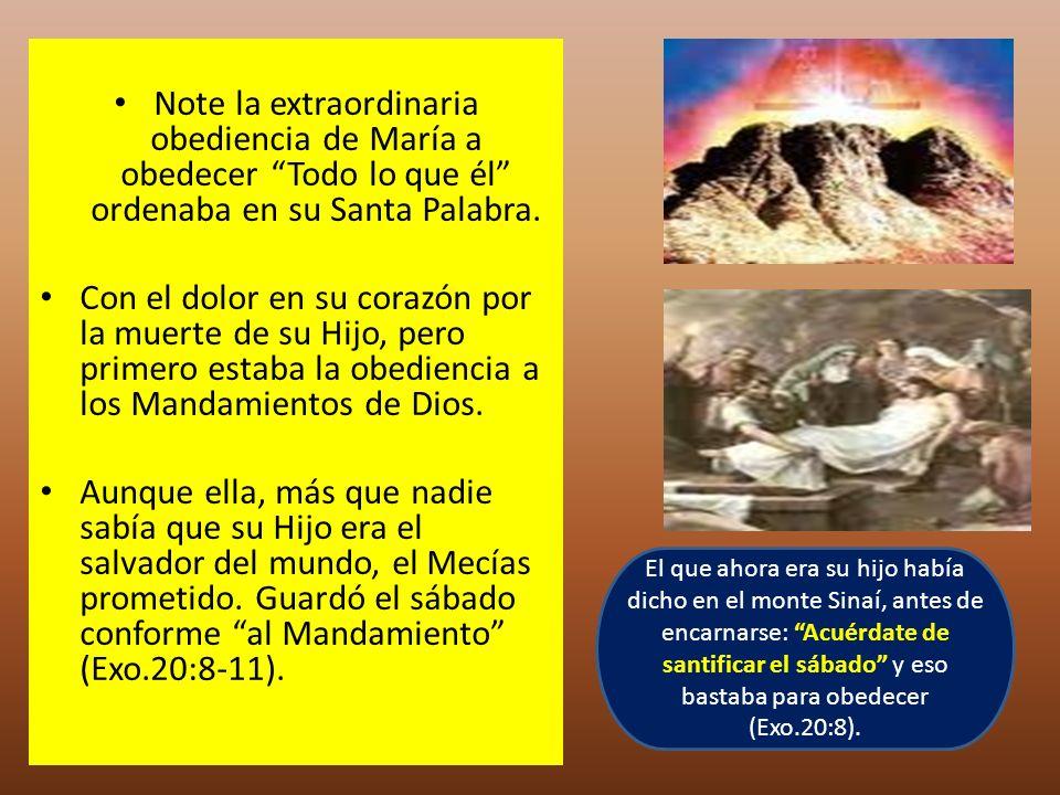 Note la extraordinaria obediencia de María a obedecer Todo lo que él ordenaba en su Santa Palabra. Con el dolor en su corazón por la muerte de su Hijo