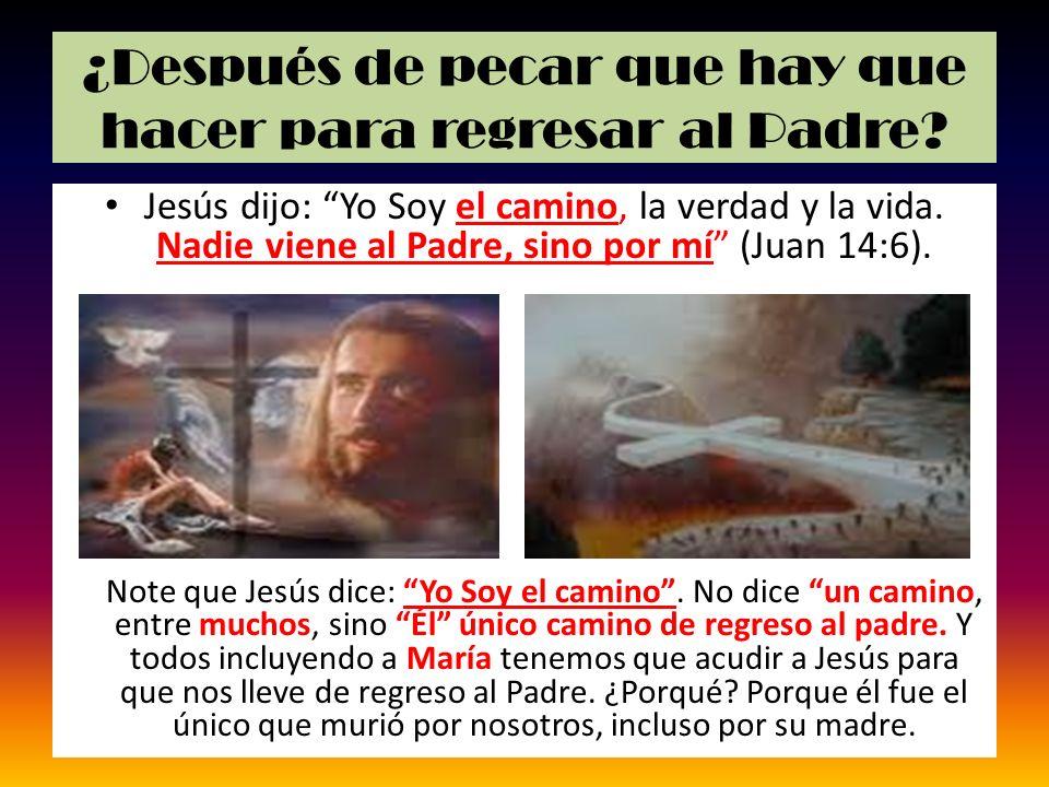 ¿Después de pecar que hay que hacer para regresar al Padre? Jesús dijo: Yo Soy el camino, la verdad y la vida. Nadie viene al Padre, sino por mí (Juan