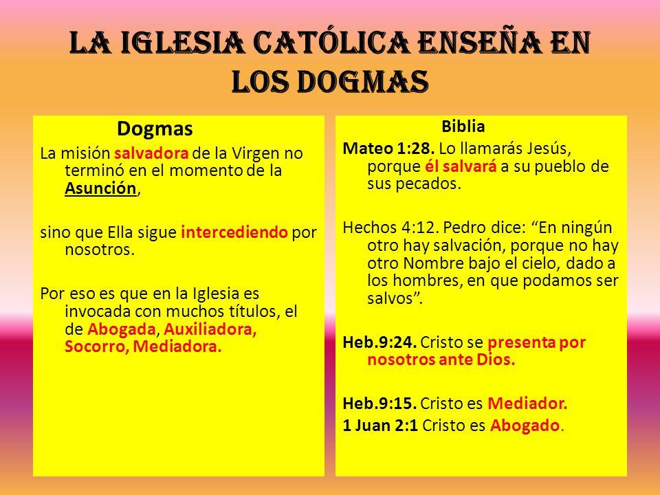 La Iglesia Católica enseña en los dogmas Dogmas La misión salvadora de la Virgen no terminó en el momento de la Asunción, sino que Ella sigue interced