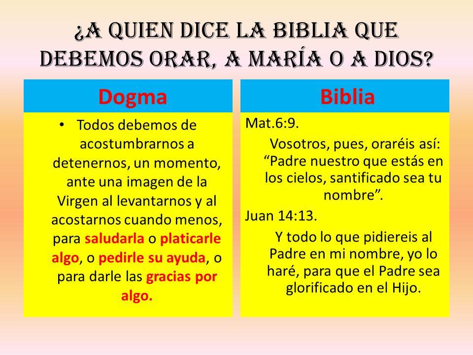 ¿A quien dice la Biblia que debemos orar, a María o a Dios? Dogma Todos debemos de acostumbrarnos a detenernos, un momento, ante una imagen de la Virg