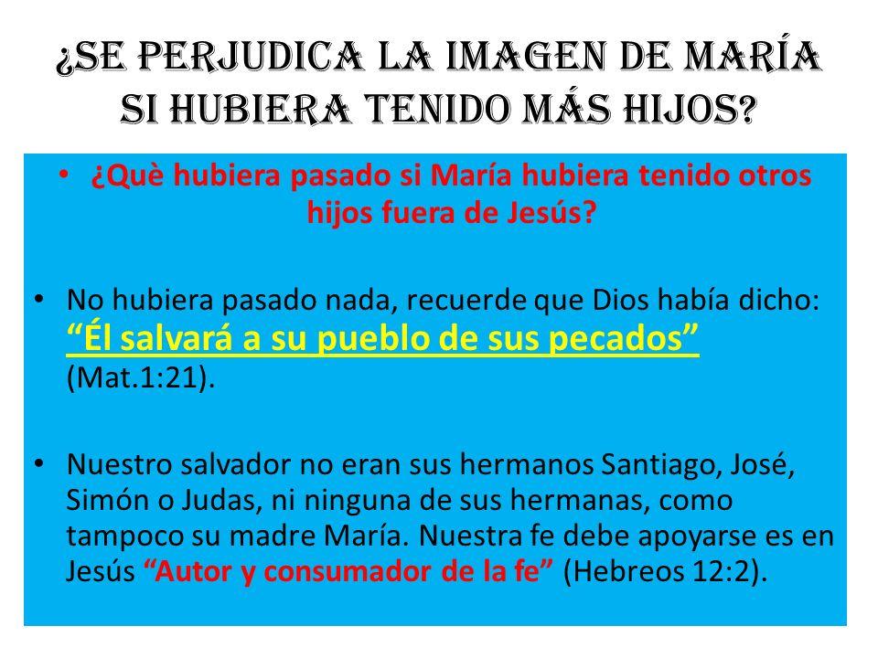 ¿Se perjudica la imagen de María si hubiera tenido más hijos? ¿Què hubiera pasado si María hubiera tenido otros hijos fuera de Jesús? No hubiera pasad
