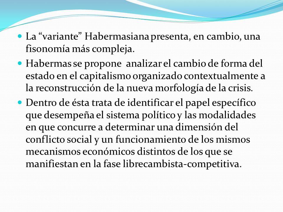 La variante Habermasiana presenta, en cambio, una fisonomía más compleja. Habermas se propone analizar el cambio de forma del estado en el capitalismo