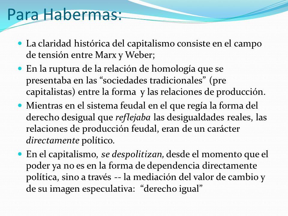 Para Habermas: La claridad histórica del capitalismo consiste en el campo de tensión entre Marx y Weber; En la ruptura de la relación de homología que