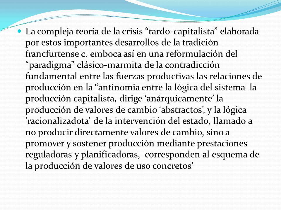 La compleja teoría de la crisis tardo-capitalista elaborada por estos importantes desarrollos de la tradición francfurtense c. emboca así en una refor