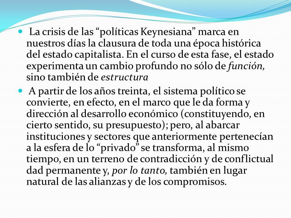 La crisis de las políticas Keynesiana marca en nuestros días la clausura de toda una época histórica del estado capitalista. En el curso de esta fase,