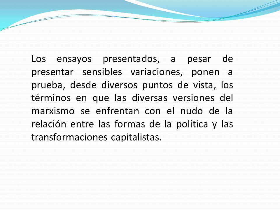 Otra de las razones fundamentales que indujeron al autor a reunir dichos estudios se basa, en la convicción de que, si por un lado la invitación de Norberto Bobbio a discutir de nuevo el problema de la teoría política del marxismo.