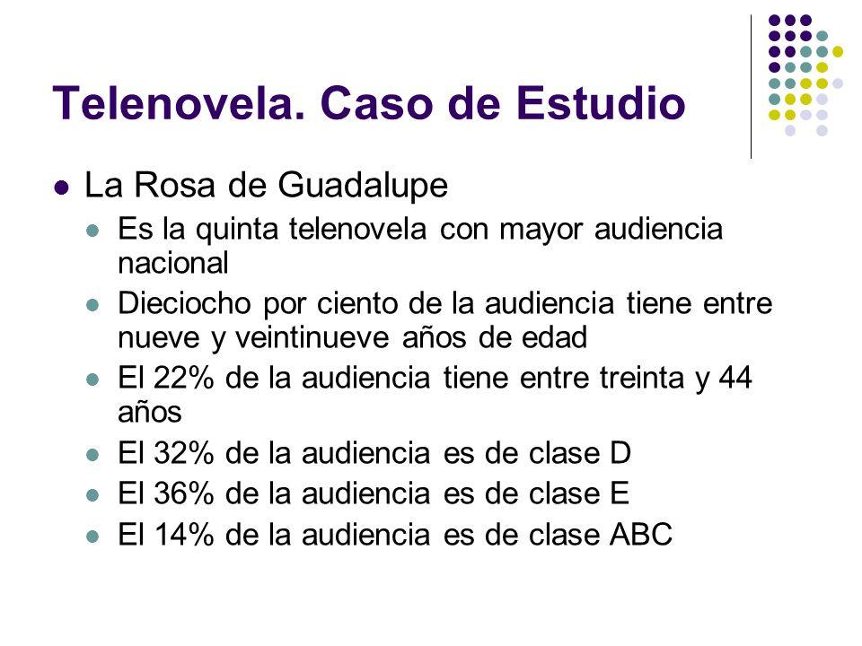 Telenovela. Caso de Estudio La Rosa de Guadalupe Es la quinta telenovela con mayor audiencia nacional Dieciocho por ciento de la audiencia tiene entre