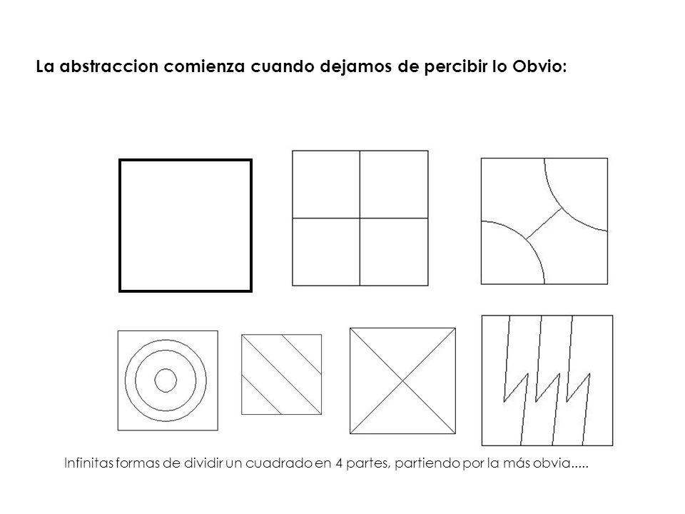 La abstraccion comienza cuando dejamos de percibir lo Obvio: Infinitas formas de dividir un cuadrado en 4 partes, partiendo por la más obvia.....