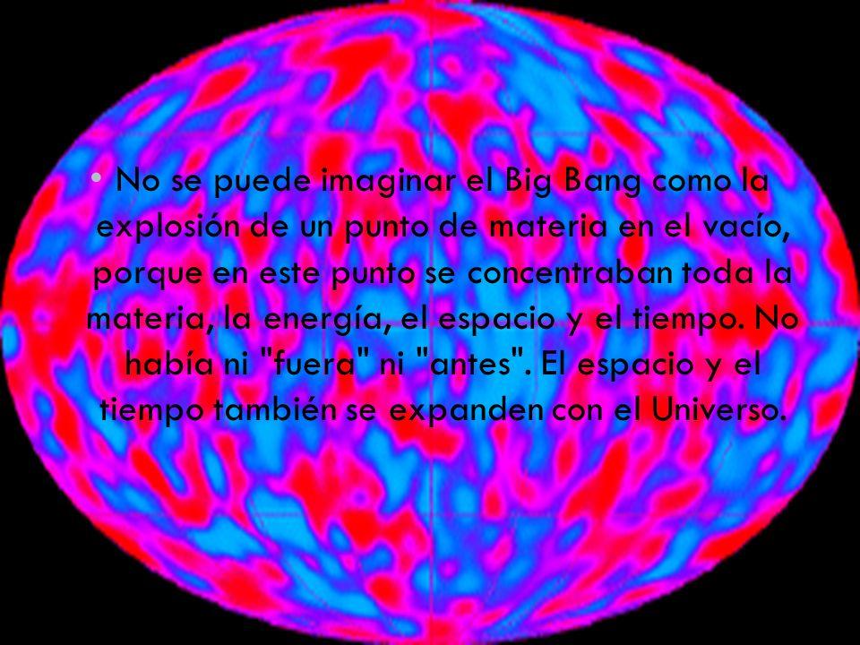 No se puede imaginar el Big Bang como la explosión de un punto de materia en el vacío, porque en este punto se concentraban toda la materia, la energía, el espacio y el tiempo.