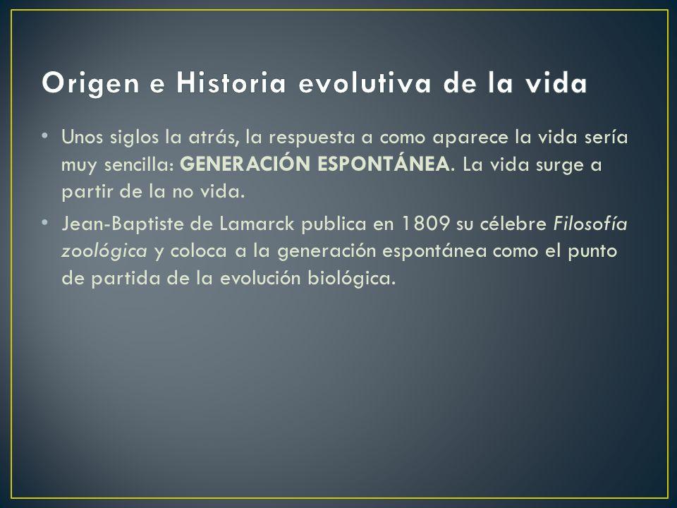 U nos siglos la atrás, la respuesta a como aparece la vida sería muy sencilla: GENERACIÓN ESPONTÁNEA.
