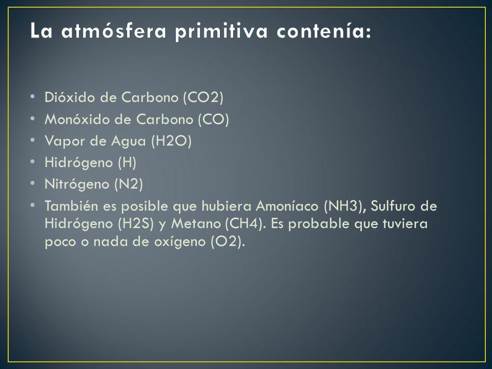Dióxido de Carbono (CO2) Monóxido de Carbono (CO) Vapor de Agua (H2O) Hidrógeno (H) Nitrógeno (N2) También es posible que hubiera Amoníaco (NH3), Sulfuro de Hidrógeno (H2S) y Metano (CH4).