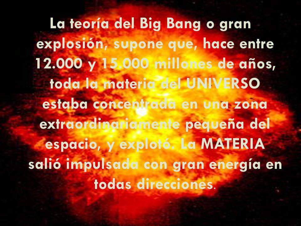 La teoría del Big Bang o gran explosión, supone que, hace entre 12.000 y 15.000 millones de años, toda la materia del UNIVERSO estaba concentrada en una zona extraordinariamente pequeña del espacio, y explotó.